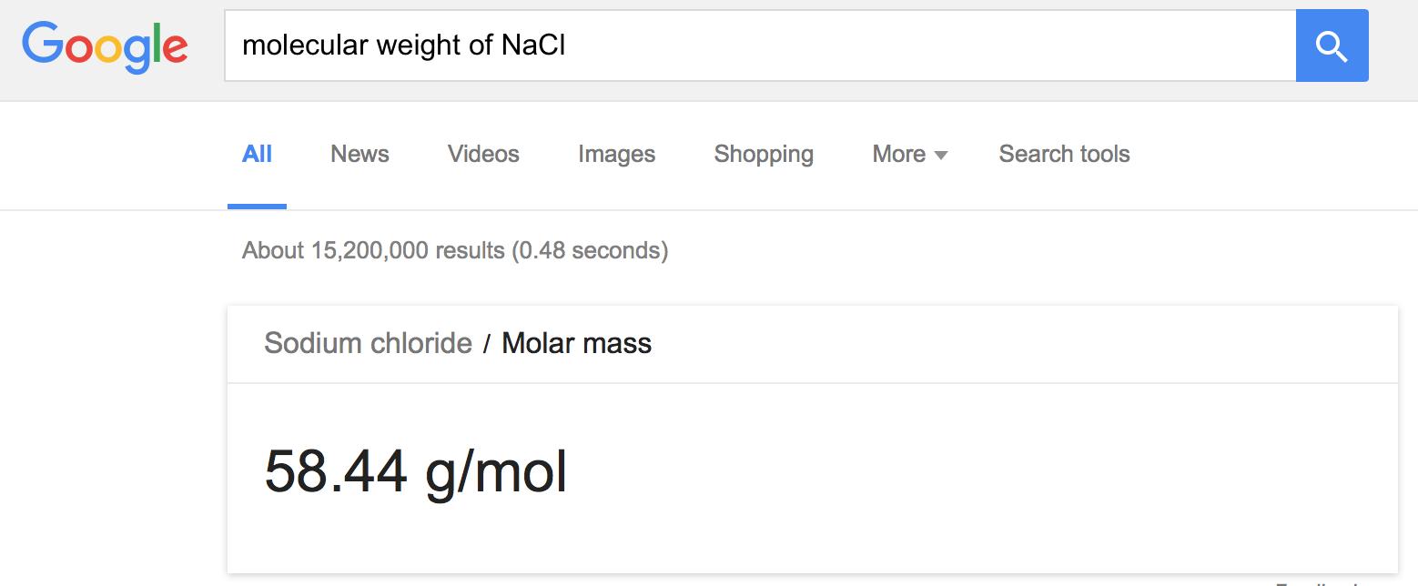 Molecular weight of NaCl in Google