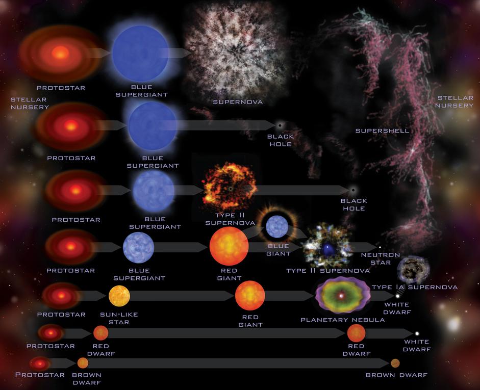 Stellar Evolution for stars of various masses, via JPL Infographics