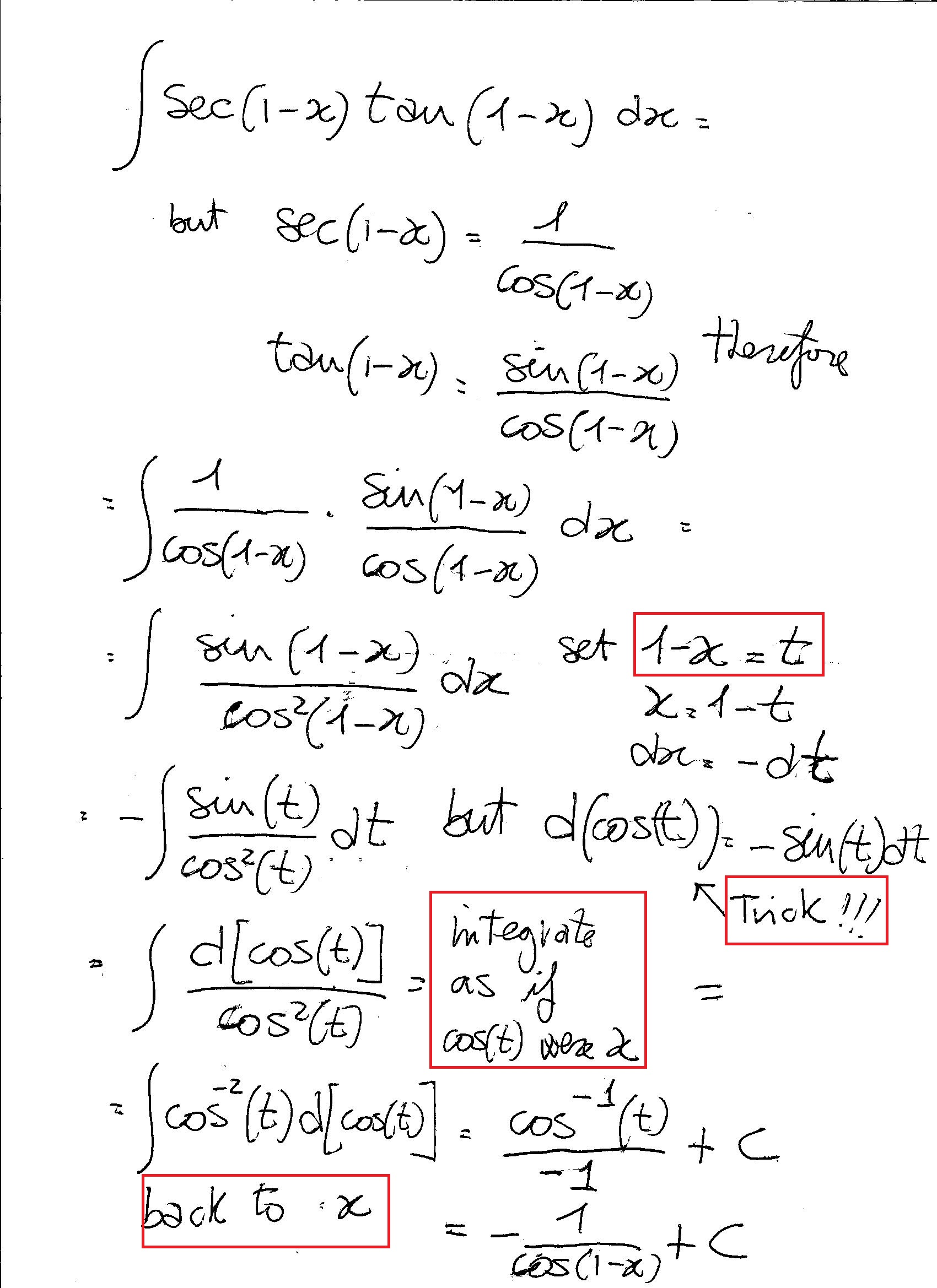 what is the antiderivative of sec