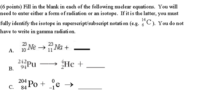 Fill in the blank in each of the following nuclear ...
