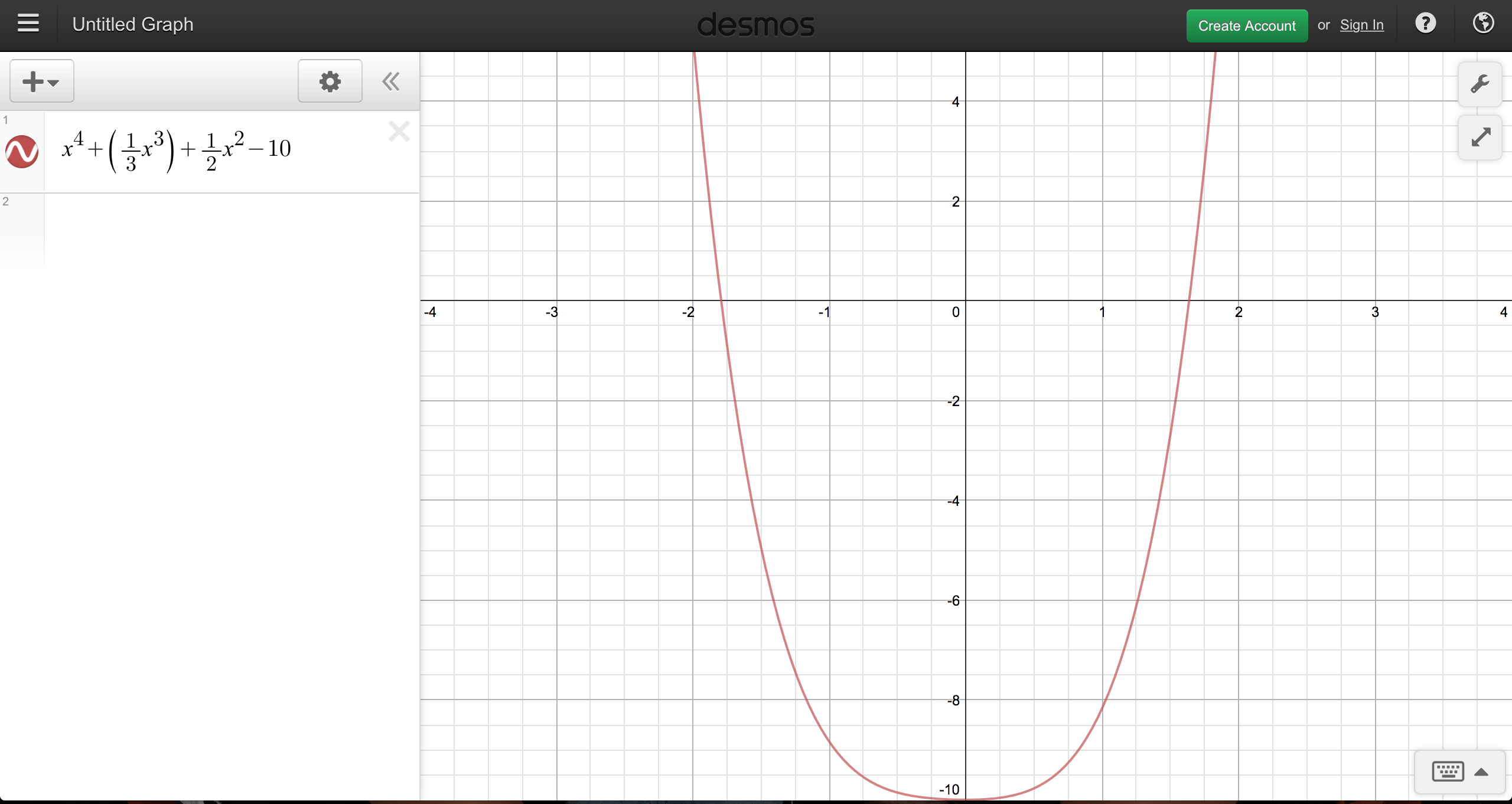 Graph of a polynomial function from https://www.desmos.com/calculator.