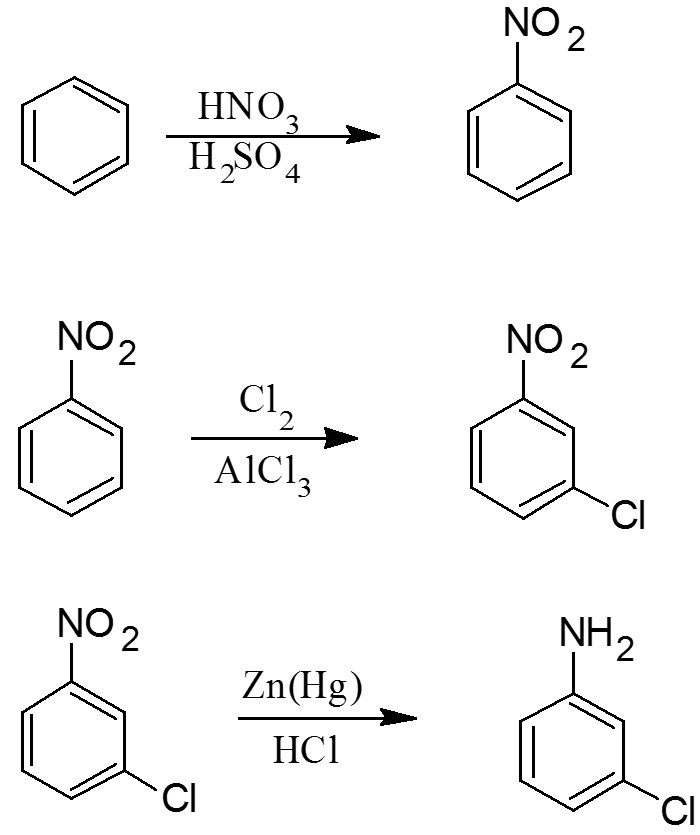 Synthesis of m-chloroaniline from benzene - Dr. K
