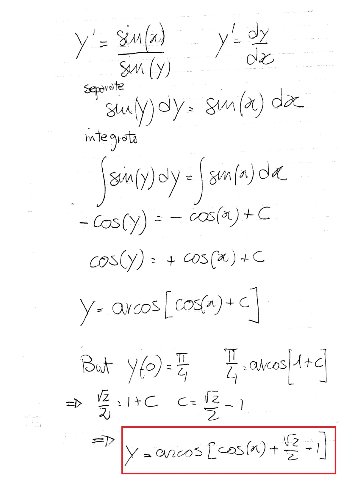 How Do You Solve The Initial Value Problem Y Sinx Siny Where Y 0 P 4 Socratic For an interesting mathematical solution method. initial value problem y sinx siny