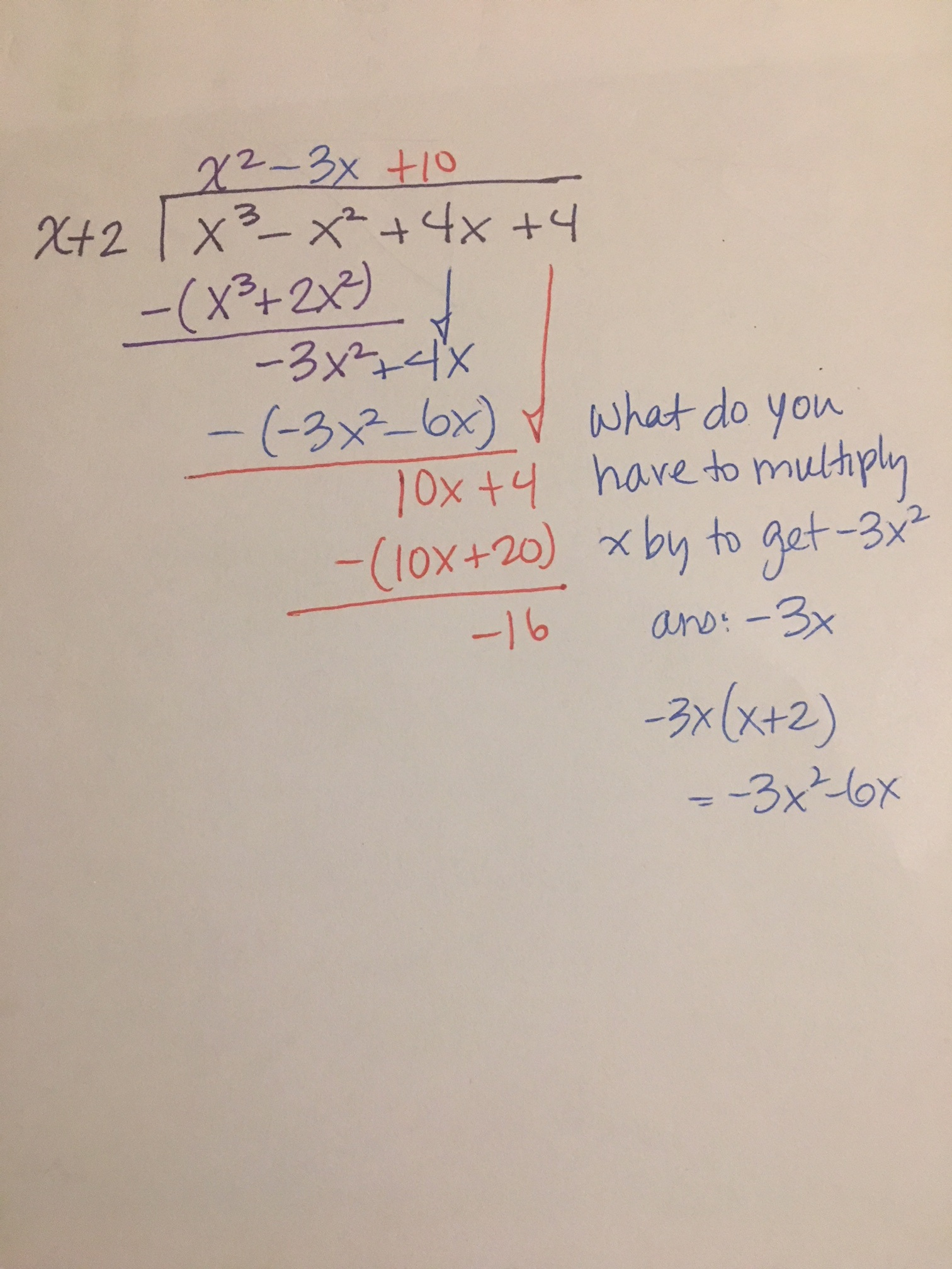 how do you divide x 3 x 2 4x 4 x 2 using polynomial long division socratic how do you divide x 3 x 2 4x 4 x 2