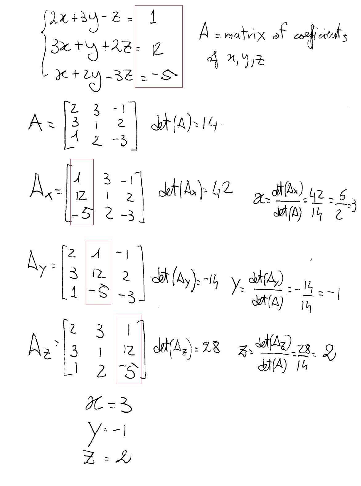 How Do You Solve 2x + 3y - Z = 1, 3x + y + 2z = 12, And x