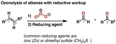 http://www.masterorganicchemistry.com/2013/04/23/alkene-reactions-ozonolysis/